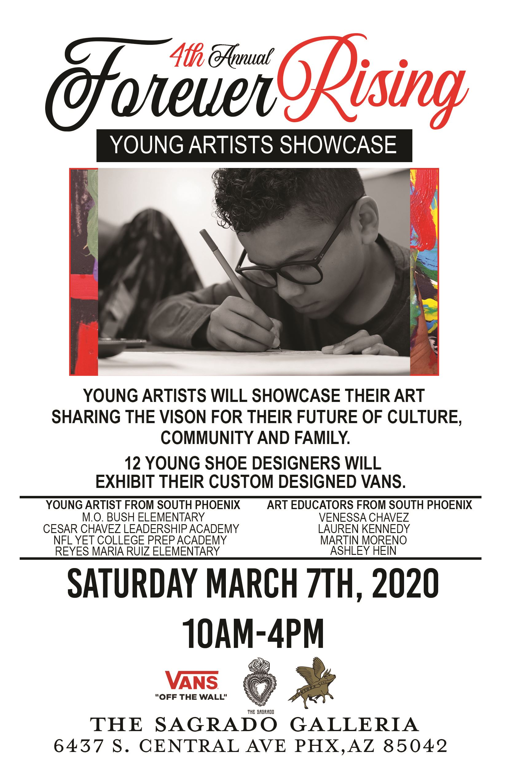 Flyer for 4th Annual Forever Rising Young Artists Showcase Event